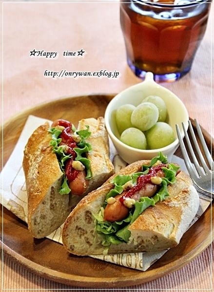 豚の生姜焼き弁当と自家製バゲットでホットドッグ♪_f0348032_18112650.jpg