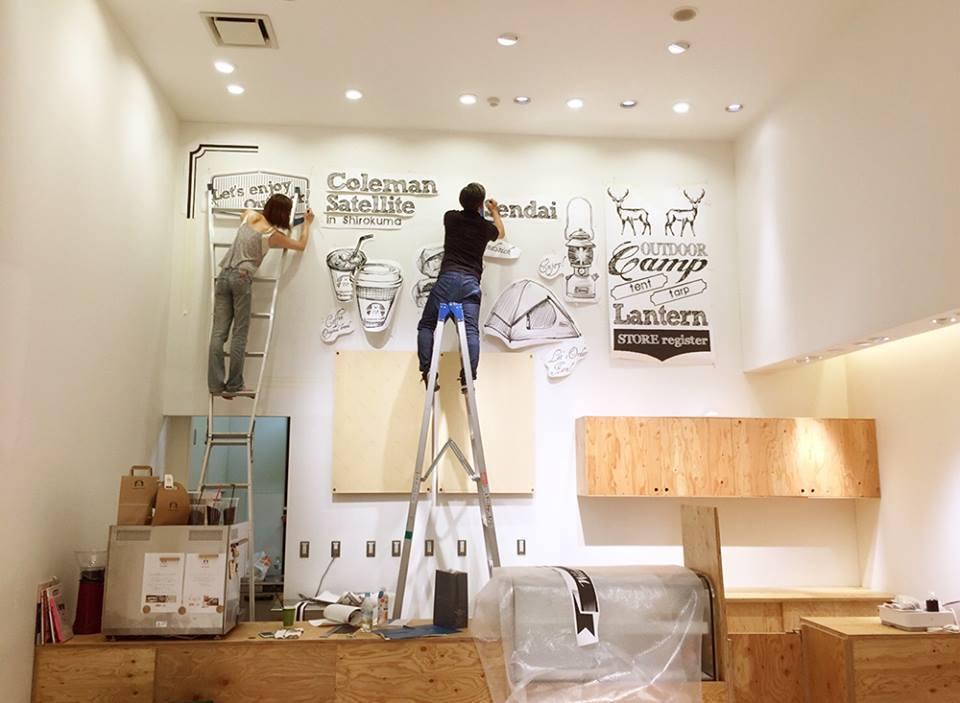 【お仕事】しろくまコーヒー+コールマンコラボカフェ@仙台店内装飾壁画制作。_a0039720_21171331.jpg