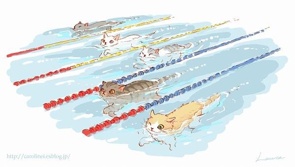 リオオリンピックの猫イラスト②  Laura\'s Illustration 2 of the Rio Olympics and Paralympics_d0025294_11281877.jpg
