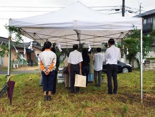 松本市渚で住宅工事の地鎮祭をしました_e0180332_1738186.jpg