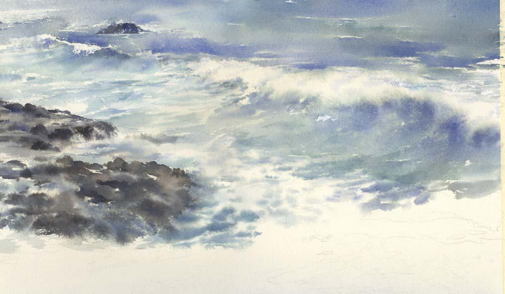 海 水彩画 途中_f0176370_16585165.jpg