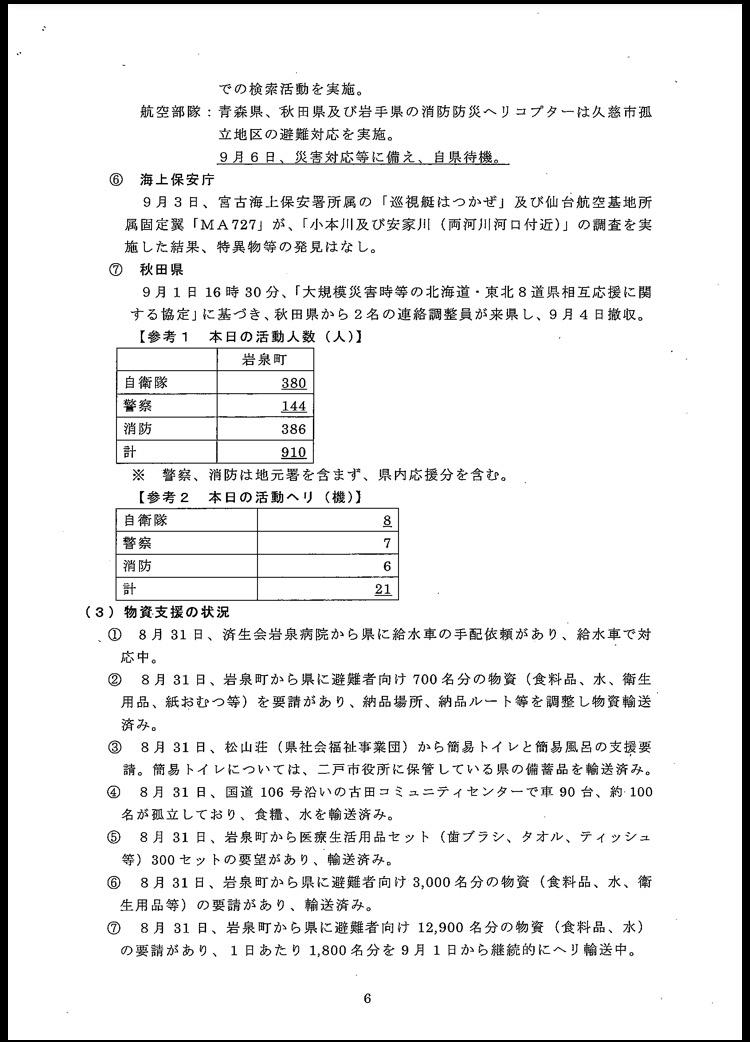台風10号に伴う岩手県の対応状況〜9月6日(火)午前6時現在〜_b0199244_11312701.jpg