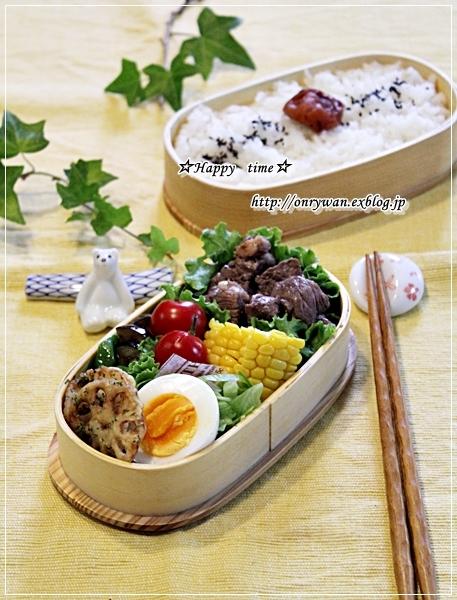 ステーキ弁当と箸置きと白身魚フライの甘酢餡かけ♪_f0348032_18274469.jpg