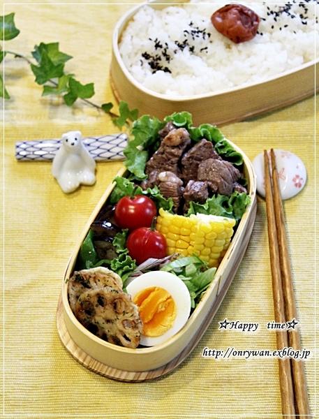 ステーキ弁当と箸置きと白身魚フライの甘酢餡かけ♪_f0348032_18275571.jpg