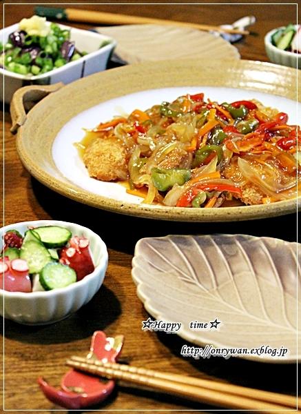 ステーキ弁当と箸置きと白身魚フライの甘酢餡かけ♪_f0348032_18280693.jpg