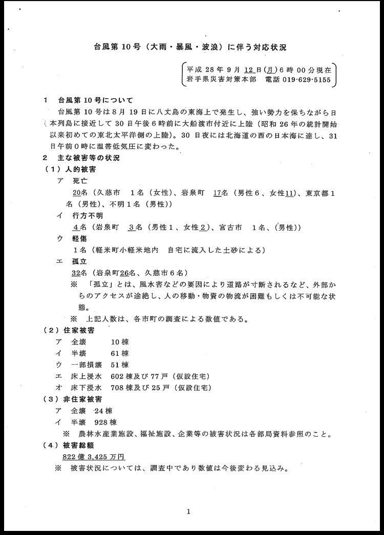 台風10号に伴う岩手県の対応状況について〜9月12日(月)6時現在〜_b0199244_11172220.jpg