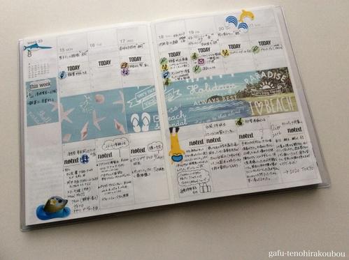 夏真っ盛りビーチ柄折紙で。手帳デコ#week33_d0285885_138272.jpg