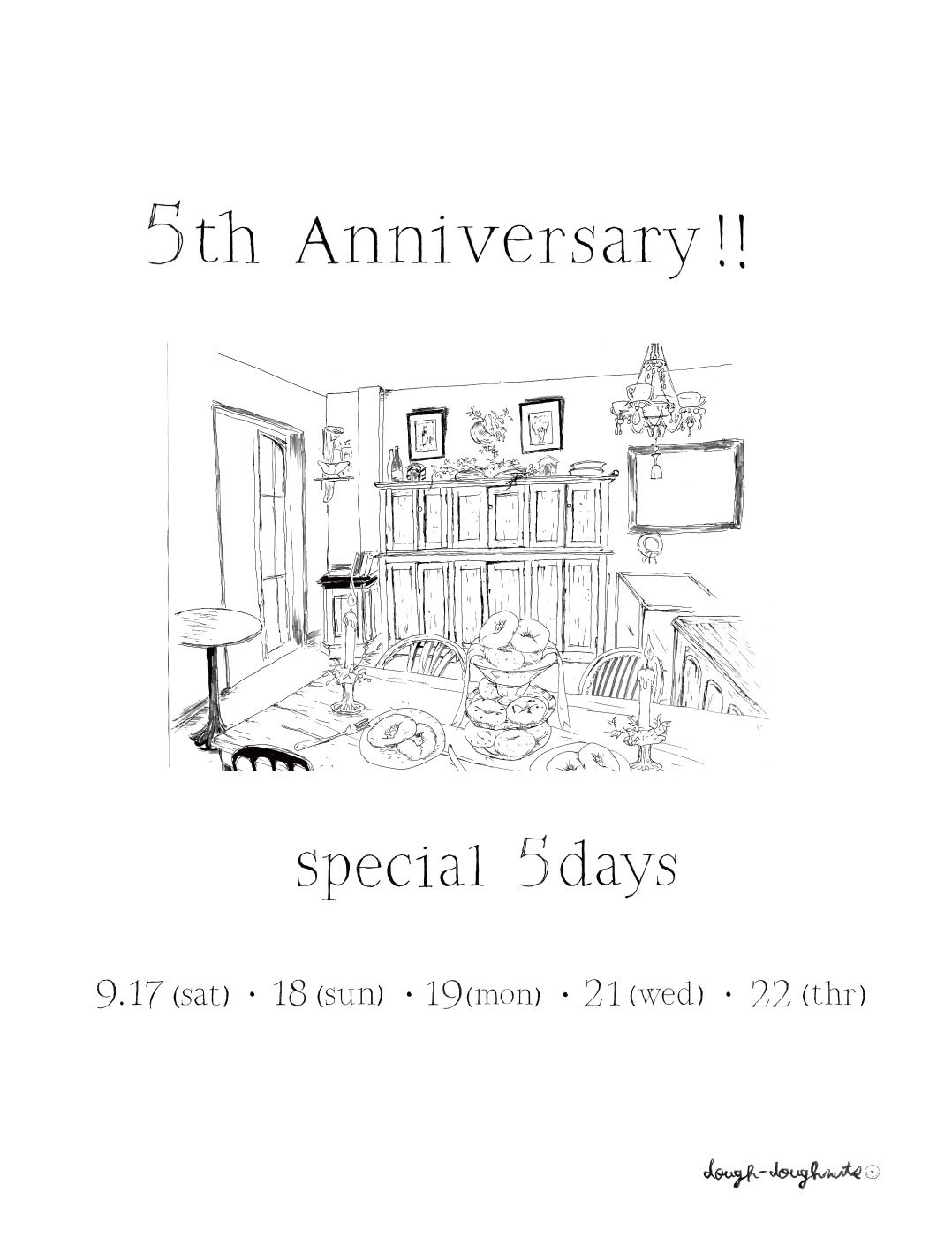 5th Anniversary! special 5days!!!  ドーナツメニュー。_a0221457_15410788.jpg