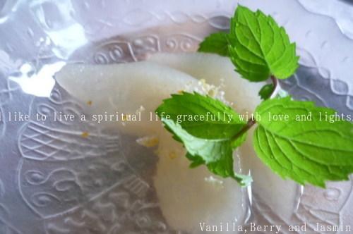 和梨のコンポート・柚子とミントの香りとともに_c0332287_11061903.jpg