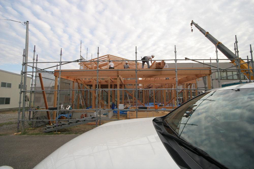 建て方→屋根工事→耐力壁取付_b0349892_12253370.jpg