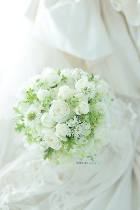 ラウンドブーケ 八芳園様へ 白の秋の実、シンフォリカスポス_a0042928_12563970.jpg