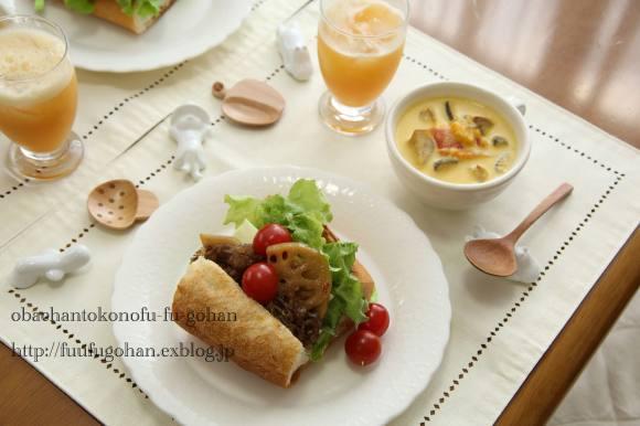 常備菜大活躍なブランチは、バタールサンド(*^^)v_c0326245_11291167.jpg