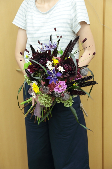9月一会定期スクール 秋の花のクラッチブーケ _a0042928_1912874.jpg
