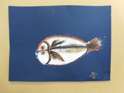 オイルパステル画 ~ アジの干物を描く ~_e0222340_15344658.jpg