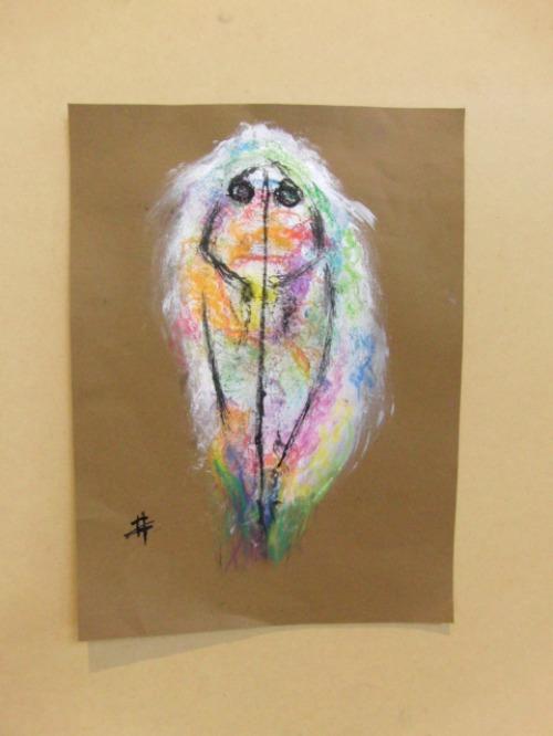 オイルパステル画 ~ アジの干物を描く ~_e0222340_15352452.jpg