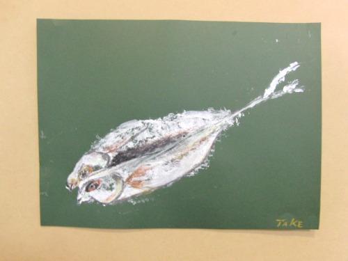 オイルパステル画 ~ アジの干物を描く ~_e0222340_15354488.jpg