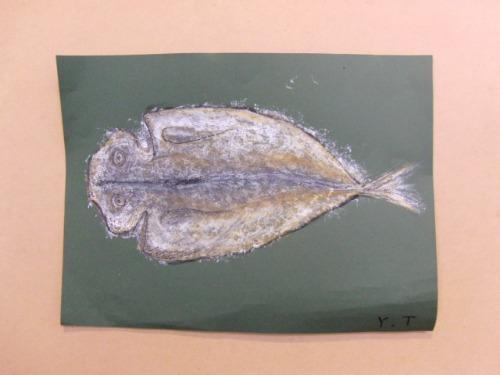 オイルパステル画 ~ アジの干物を描く ~_e0222340_15373528.jpg