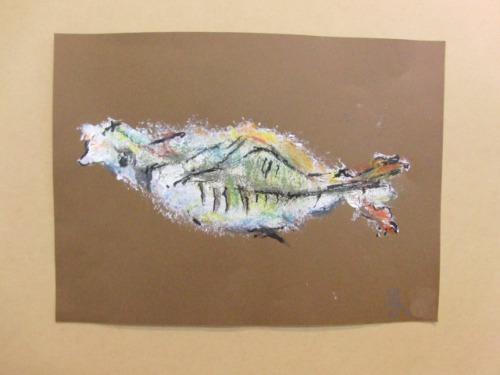 オイルパステル画 ~ アジの干物を描く ~_e0222340_1537429.jpg