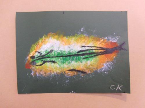 オイルパステル画 ~ アジの干物を描く ~_e0222340_15383181.jpg