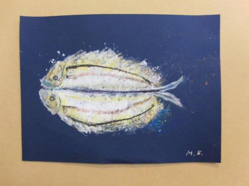 オイルパステル画 ~ アジの干物を描く ~_e0222340_1539332.jpg