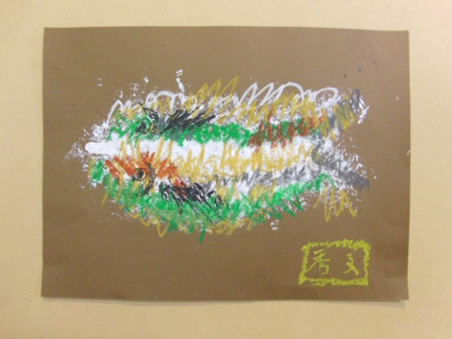 オイルパステル画 ~ アジの干物を描く ~_e0222340_15403263.jpg