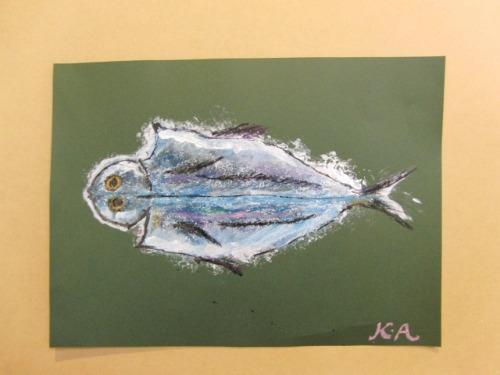 オイルパステル画 ~ アジの干物を描く ~_e0222340_15424560.jpg