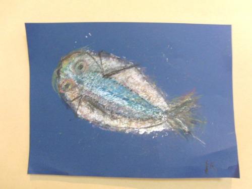 オイルパステル画 ~ アジの干物を描く ~_e0222340_15432714.jpg