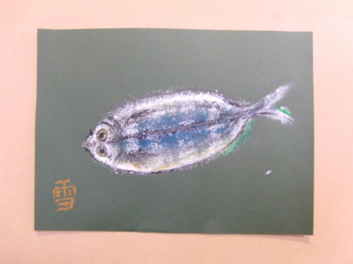 オイルパステル画 ~ アジの干物を描く ~_e0222340_1544162.jpg