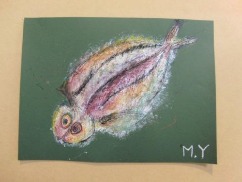 オイルパステル画 ~ アジの干物を描く ~_e0222340_15442521.jpg