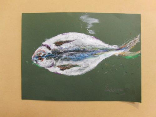 オイルパステル画 ~ アジの干物を描く ~_e0222340_15495619.jpg