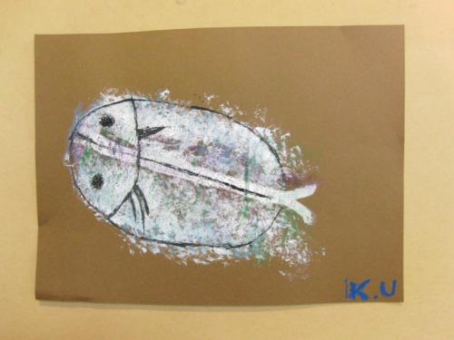 オイルパステル画 ~ アジの干物を描く ~_e0222340_15501833.jpg