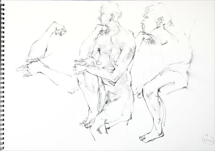《 「肘をつくポーズ」・・・裸婦スケッチ 3 》_f0159856_13082657.jpg