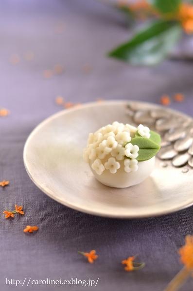 金木犀の練りきり  Homemade Nerikiri    Fragrant Orange & White-colored Olive_d0025294_16584614.jpg