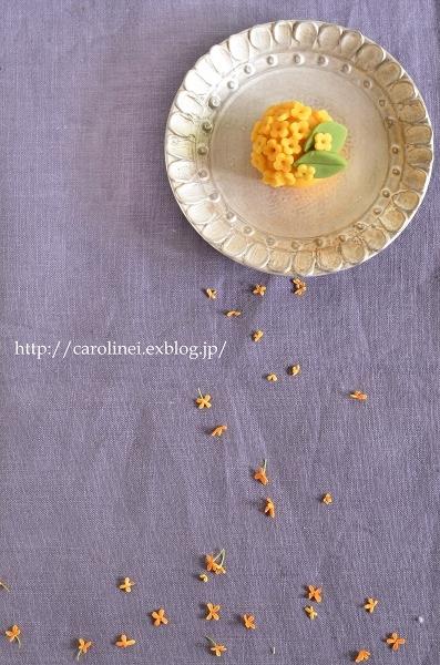 金木犀の練りきり  Homemade Nerikiri    Fragrant Orange & White-colored Olive_d0025294_17000165.jpg