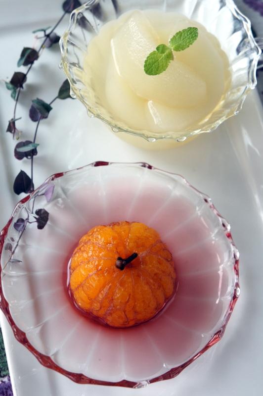 梨の白ワインコンポート みかんの赤ワインコンポート_d0210450_14203291.jpg