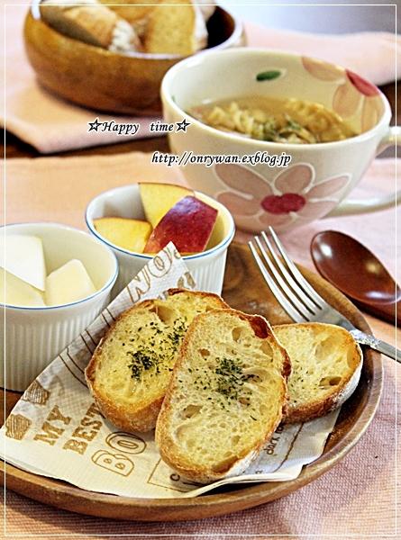 ざくろおむすび弁当とガーリックトースト&クリームパスタでブランチ♪_f0348032_17595078.jpg