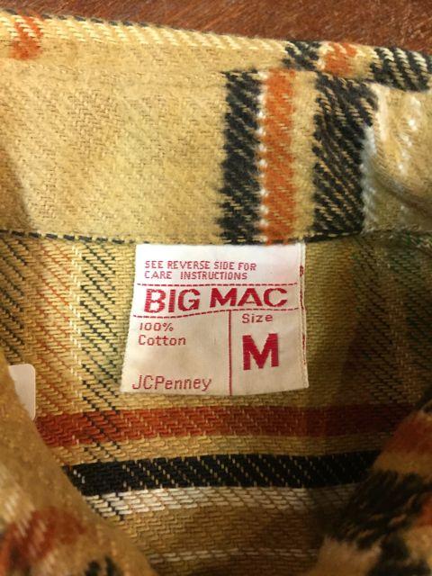 10/22(土)入荷商品!70s〜ビッグマック BIGMAC ネルシャツ!_c0144020_1571278.jpg