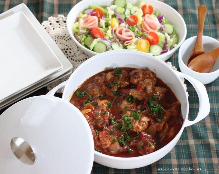 世界一軽い鋳物ホーロー鍋 ✿ チキンのチリトマト煮込み♪_c0139375_1637420.jpg