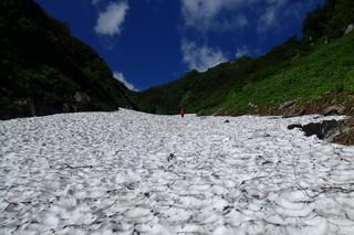 剱沢雪渓と水平歩道_e0360016_17312961.jpg