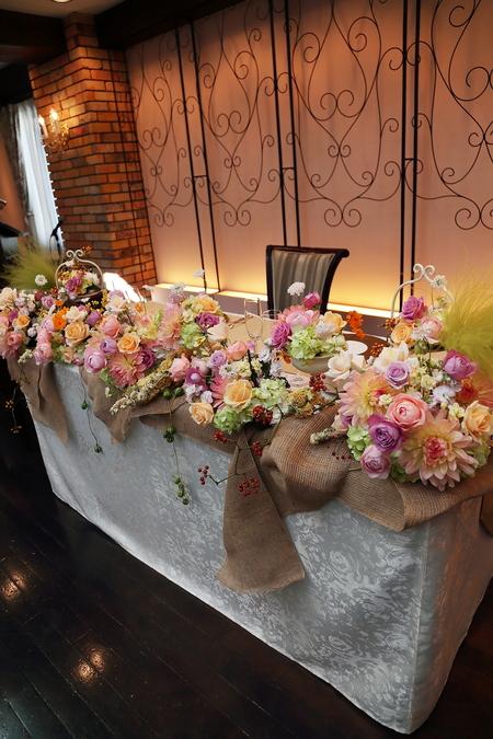 秋、11月の装花 紅葉と実ものの階段装花 ザ・ハウス白金様へ_a0042928_2221237.jpg