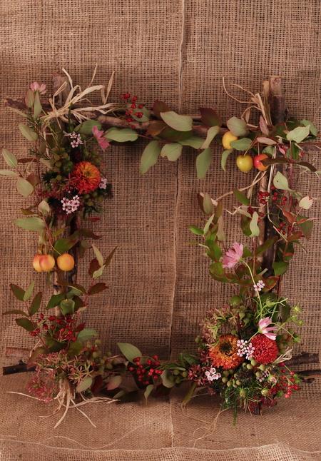 一会定期スクール10月、秋の実もののウェルカムボード装花とブーケ_a0042928_18102979.jpg