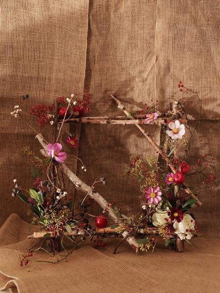 一会定期スクール10月、秋の実もののウェルカムボード装花とブーケ_a0042928_18115864.jpg