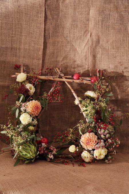 一会定期スクール10月、秋の実もののウェルカムボード装花とブーケ_a0042928_1816275.jpg