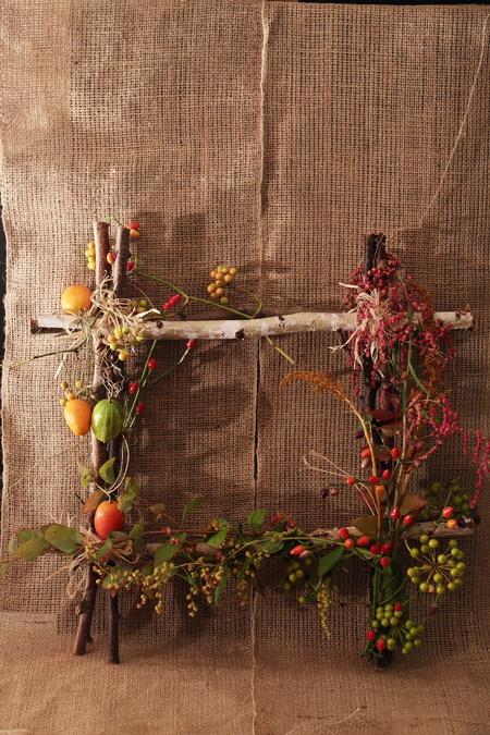 一会定期スクール10月、秋の実もののウェルカムボード装花とブーケ_a0042928_1824076.jpg