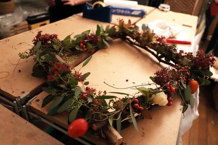 一会定期スクール10月、秋の実もののウェルカムボード装花とブーケ_a0042928_18253596.jpg