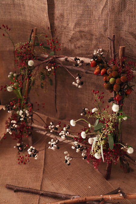 一会定期スクール10月、秋の実もののウェルカムボード装花とブーケ_a0042928_1885158.jpg