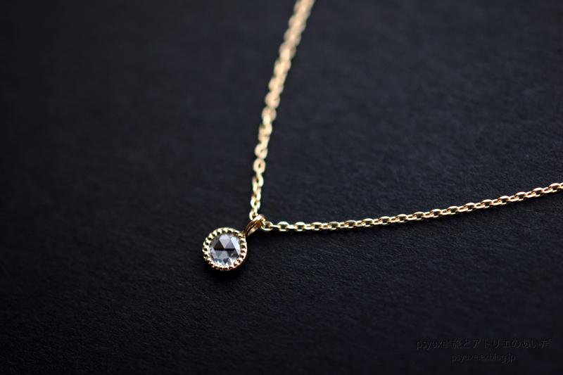 ローズカット・ダイアモンドとミルグレインのネックレス_e0131432_14500515.jpg