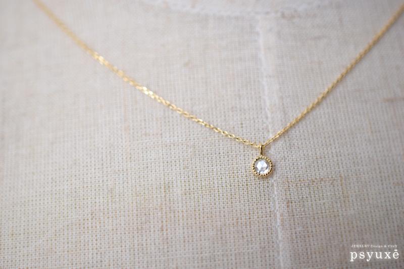 ローズカット・ダイアモンドとミルグレインのネックレス_e0131432_12031702.jpg