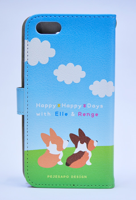 エルくん&れんげちゃん 青空コーギー手帳型スマホケース_d0102523_13122072.jpg