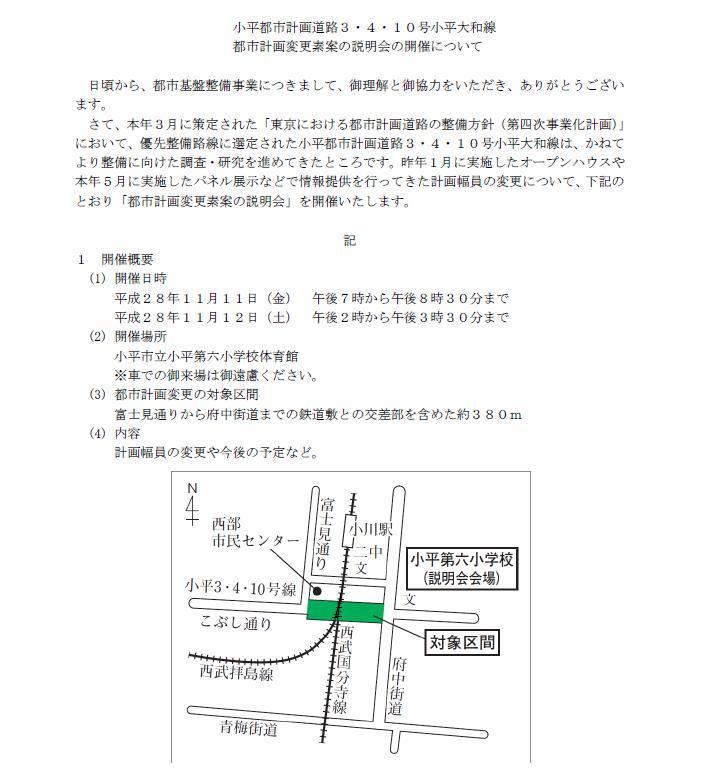 都市計画道路3・4・10号小平大和線都市計画変更素案説明会_f0059673_23210459.jpg